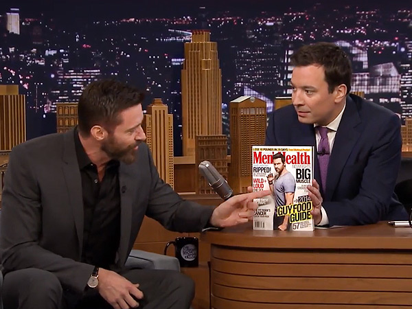 Jimmy Fallon Teases Hugh Jackman About His Awkward Magazine Cover Pose | Hugh Jackman, Jimmy Fallon