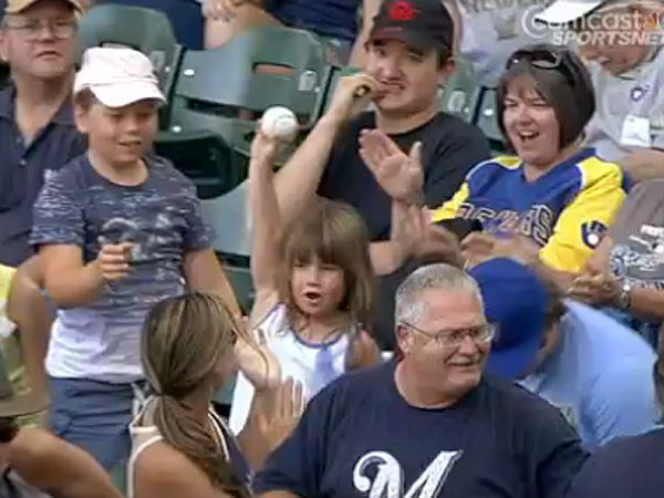 Girl Get Foul Ball Giants Brewers Baseball Game