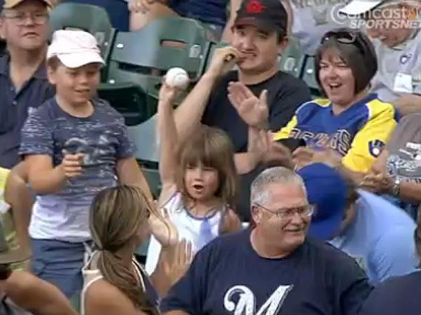 Girl Get Foul Ball Giants Brewers Baseball Game