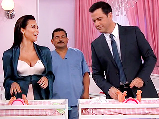 Jimmy Kimmel Challenges Kim Kardashian to a Diaper-Changing Contest