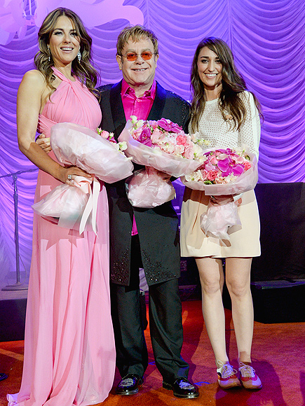TICKLED PINK photo | Elizabeth Hurley, Elton John, Sara Bareilles