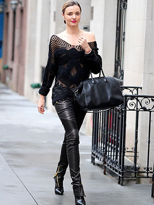Miranda Kerr leather pants