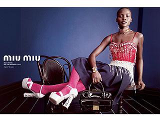 Elle Fanning, Elizabeth Olsen and Lupita Nyong'o Go Glam in Quirky Miu Miu Ads   Lupita Nyong'o