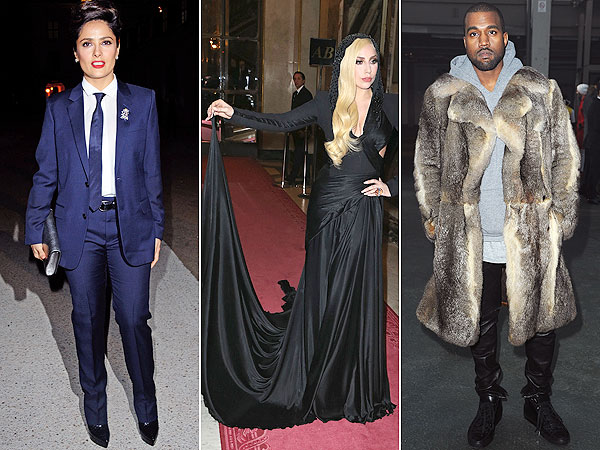 Salma Hayek, Lady Gaga, Kanye West Paris Fashion Week