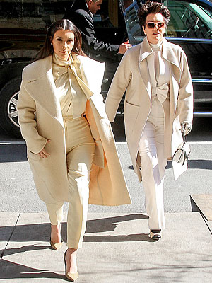 Kim and Kris matching pantsuits