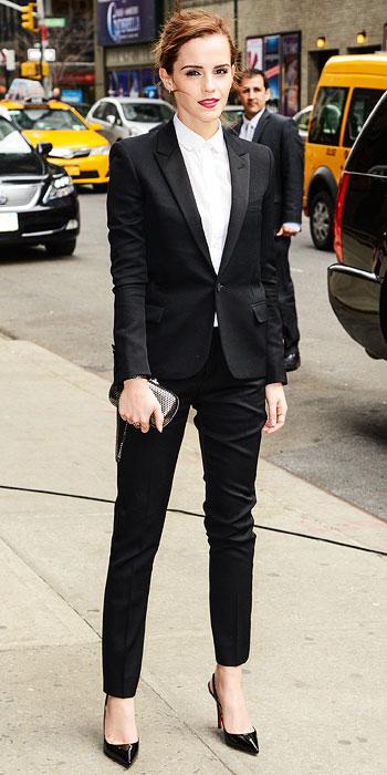 Emma Watson suit Letterman