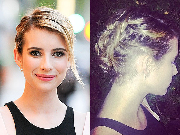 Emma Roberts S Twisted Do Proves Short Hair Updos Are Super Cute Get The Look Buy Celebrity Clothes