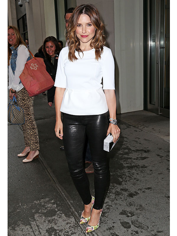 Sophia Bush leather skinnies, floral shoes
