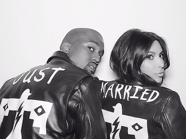 Kim and Kanye matching leather jackets