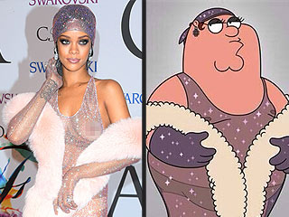 The Ultimate Fashion Faceoff: Rihanna vs. Peter Griffin in See-Through Sparkly Dress | Family Guy, Rihanna