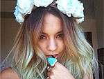 PHOTO: Vanessa Hudgens Debuts Turquoise Hair (And Wears Flower Crown to Match!)