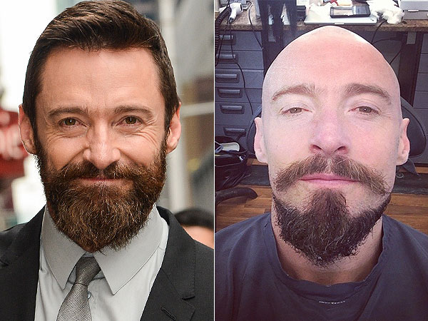 Hugh Jackman shaves head