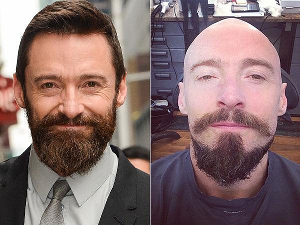 Hugh Jackman shaves head