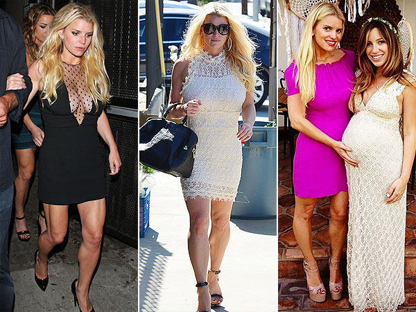 Jessica Simpson mini dresses, toned legs