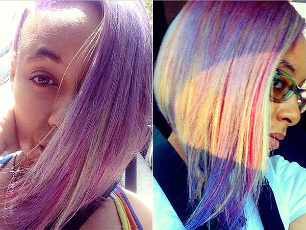 Raven-Symone purple and gray hair