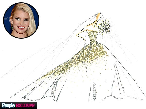Jessica Simpson Carolina Herrera Wedding Dress Sketch