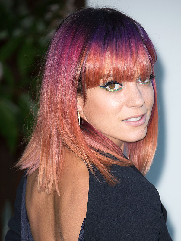 Lily Allen Dyes Hair, Lily Allen Multicolor Hair, Rainbow Hair ... Lily Allen