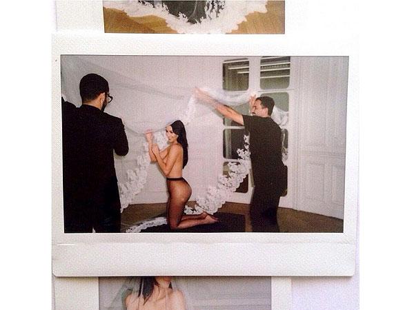 Kim Kardashian topless wedding veil