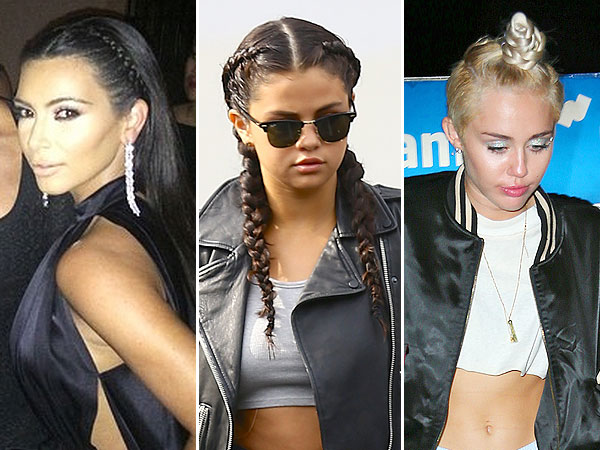 Kim Kardashian, Selena Gomez and Miley Cyrus braided hairstyles