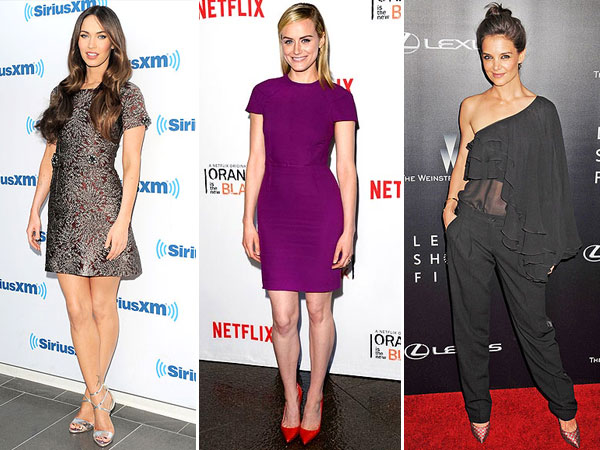 Megan Fox mini dresses, Katie Holmes sheer shirt