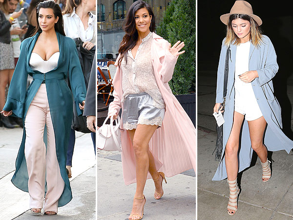 Kim Kardashian, Kourtney Kardashian, and Kylie Jenner duster toppers