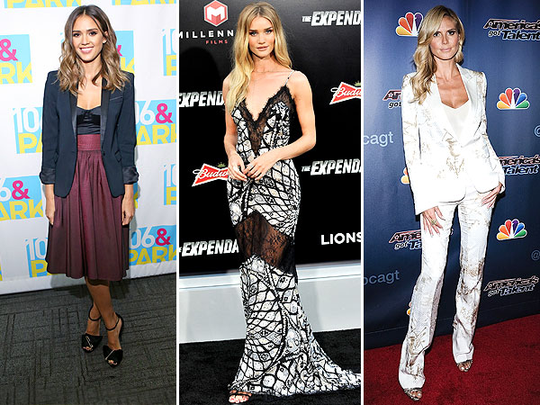 Jessica Alba, Rosie Huntington-Whiteley and Heidi Klum style