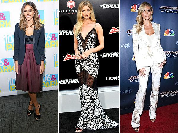 Jessica Alba, Rosie Huntington-Whiteley and Heidi Klum style