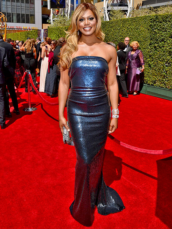 Laverne Cox Emmys hairy, dress