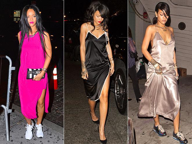 Rihanna sexy slip dresses