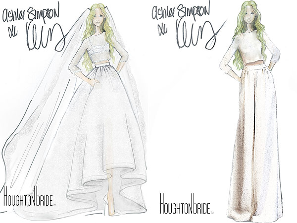 Ashlee Simpson wedding dress sketches
