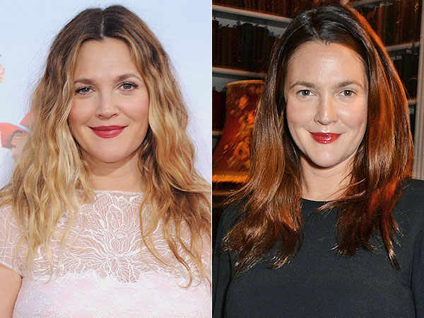 Drew Barrymore dyes hair dark