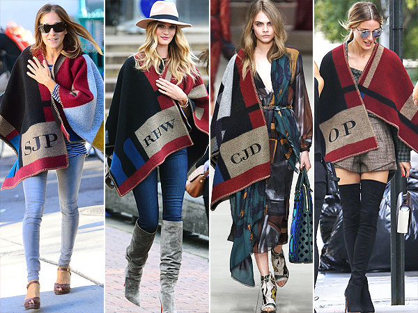 Burberry poncho celebrities