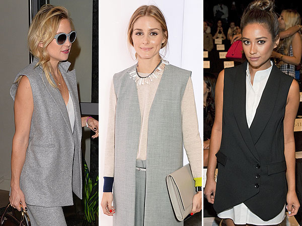 Kate Hudson, Olivia Palermo, Shay Mitchell style, vest trend