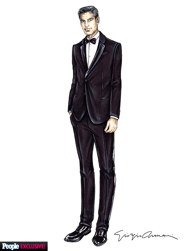 George Clooney Giorgio Armani wedding tuxedo sketch