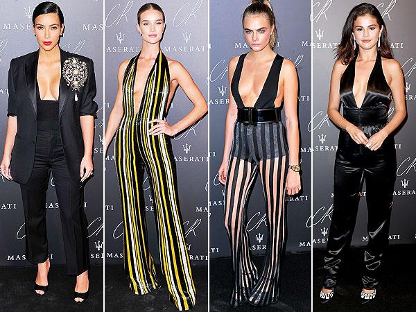 Kim Kardashian, Selena Gomez, Rosie Huntington-Whiteley, Cara Delevingne plunging necklines PFW