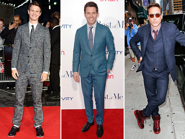 Angel Elgort suit, Robert Downey Jr. suit