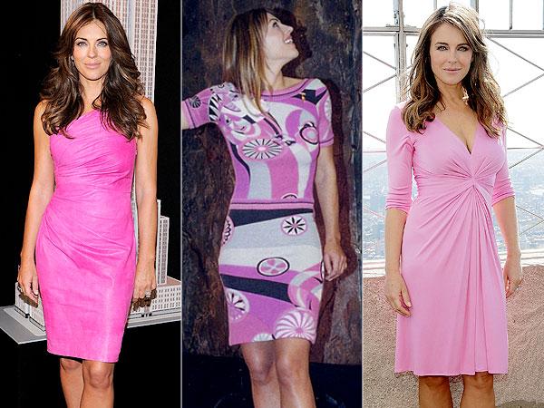 Elizabeth Hurley pink dresses