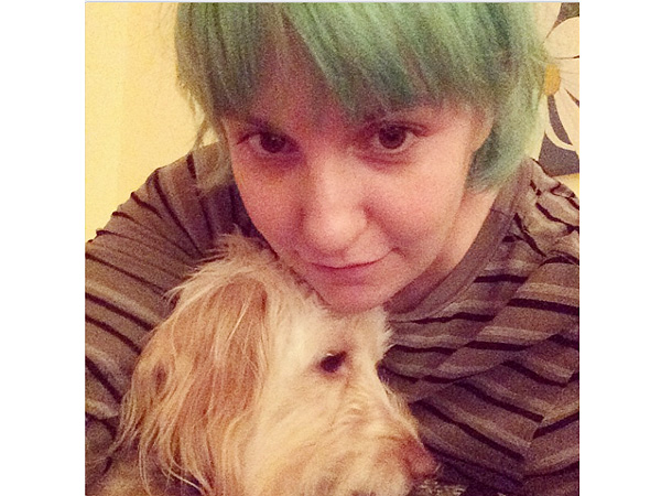Lena Dunham Instagram Photo with Dog/Green Hair h