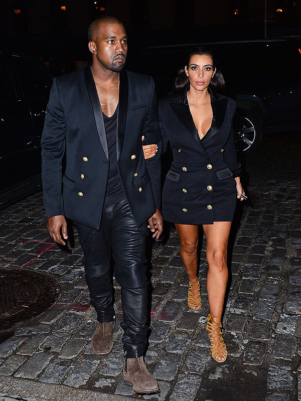 Kim Kardashian and Kanye West matching style