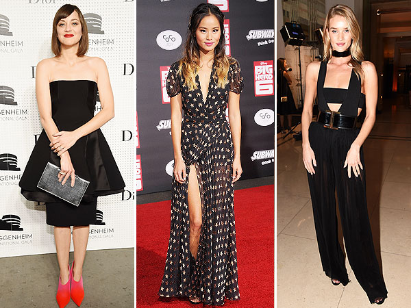 Marion Cotillard's strapless dress, Rosie Huntington-Whiteley's skin baring ensemble
