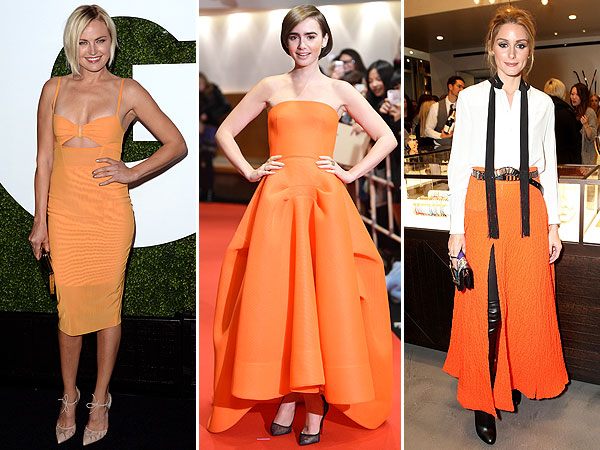 malin akerman, lily collins, Olivia Palermo in orange