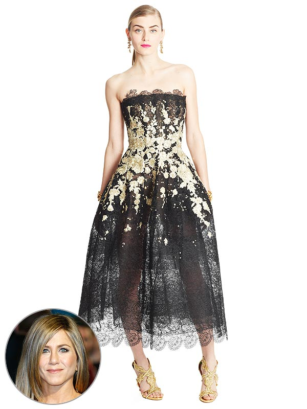 Jennifer Aniston Golden Globes dress prediction Oscar de la Renta