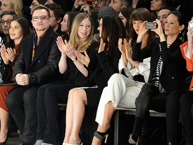 FRONT ROW AT EDUN photo | America Ferrera, Bono, Chelsea Clinton, Helena Christensen, Lucy Liu