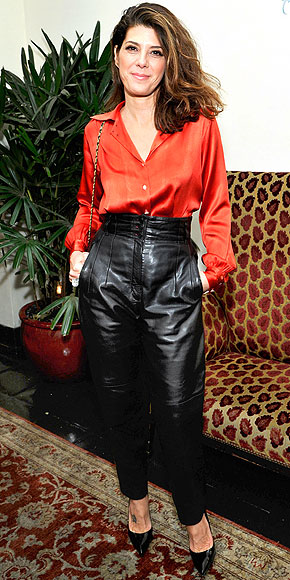BAGGY HIGH-WAISTED LEATHER PANTS photo | Marisa Tomei
