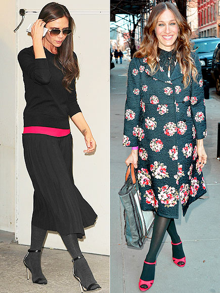 TIGHTS WITH SANDALS photo | Sarah Jessica Parker, Victoria Beckham