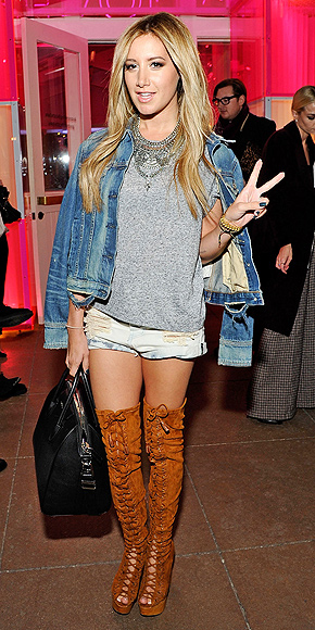 OVER-THE-KNEE BOOTS AND CUTOFFS photo | Ashley Tisdale