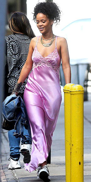 SATIN NIGHTIES IN PUBLIC photo | Rihanna