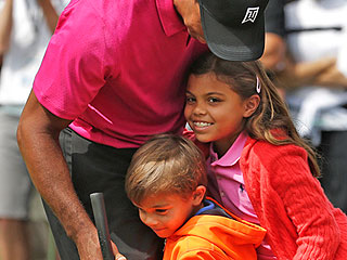 Aww! Tiger Woods's Kids Visit Him on the Golf Course