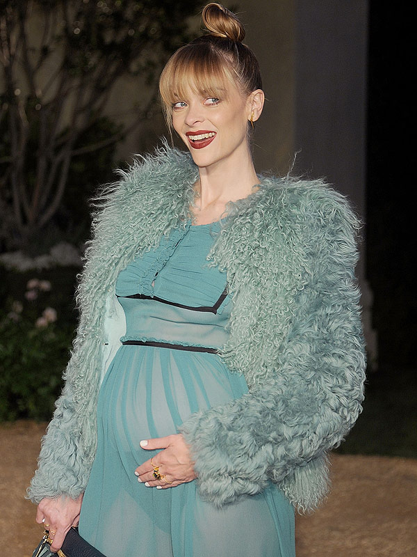 Jaime King baby bump sheer dress
