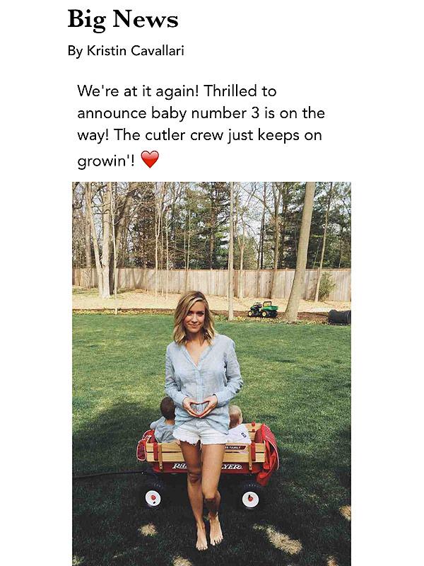 Kristin Cavallari Pregnant Expecting Third Child Jay Cutler